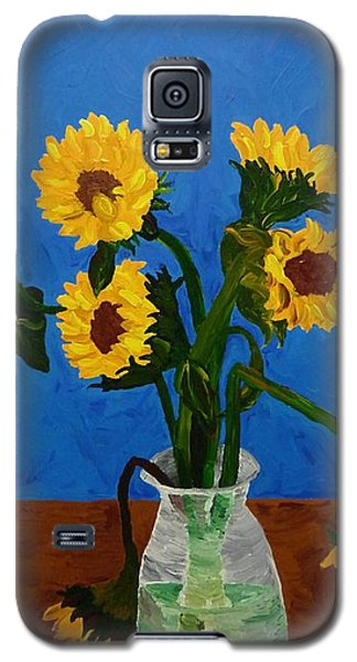 Seven Sunflowers In Vase Galaxy S5 Case