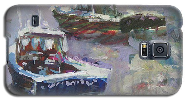 Galaxy S5 Case featuring the painting Two Lobster Boats by Robert Joyner