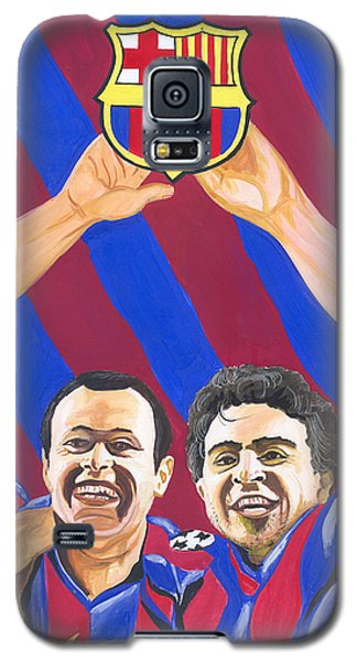 Galaxy S5 Case featuring the painting Xavi And Iniesta by Emmanuel Baliyanga