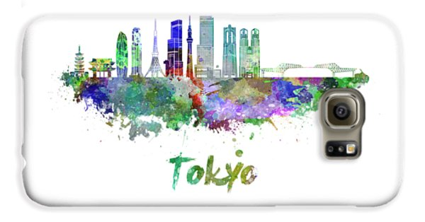 Tokyo V3 Skyline In Watercolor Galaxy S6 Case by Pablo Romero