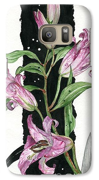 Galaxy Case featuring the painting Flower Lily 01 Elena Yakubovich by Elena Yakubovich
