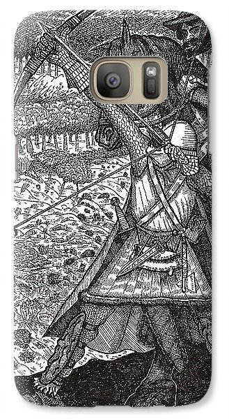 Galaxy Case featuring the drawing Abbadon Takes Aim by Al Goldfarb