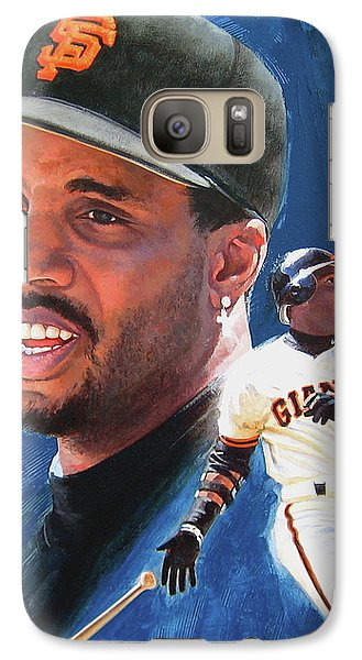 Galaxy Case featuring the painting Barry Bonds In The Shadow by Cliff Spohn