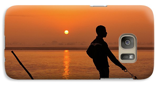 Galaxy Case featuring the photograph Boatsman On The Ganges by Stefan Nielsen