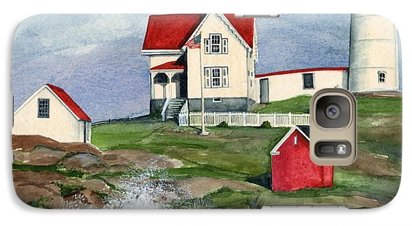 Galaxy Case featuring the painting Cape Neddic Lighthouse  by Nancy Patterson