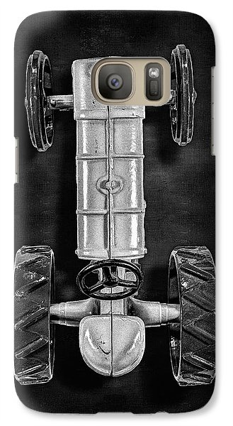 Galaxy Case featuring the photograph Fordson Tractor Top Bw by YoPedro