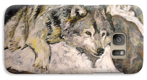 Galaxy Case featuring the painting Grey Wolf Resting In The Snow by Koro Arandia
