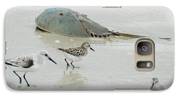 Galaxy Case featuring the photograph Horseshoe Crab With Migrating Shorebirds by Richard Bryce and Family