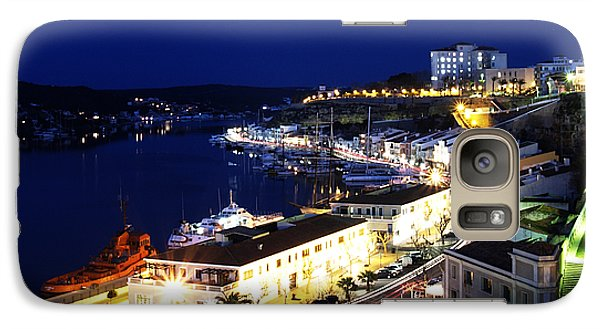 Galaxy Case featuring the photograph Mahon Harbour At Night by Pedro Cardona
