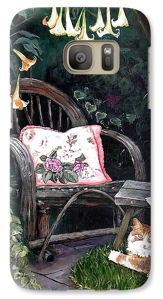 Galaxy Case featuring the painting My Secret Garden by Mary-Lee Sanders