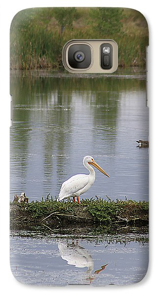Galaxy Case featuring the photograph Pelican Reflection by Alyce Taylor