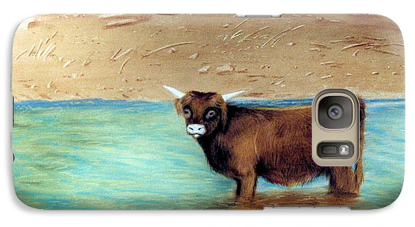 Galaxy Case featuring the pastel Scottish Highland Bull by Jan Amiss