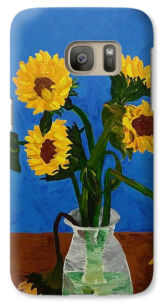 Galaxy Case featuring the painting Seven Sunflowers In Vase by Joshua Redman