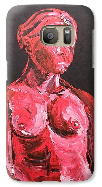 Galaxy Case featuring the painting Standing Nude In Red by Joshua Redman