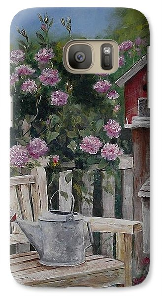 Galaxy Case featuring the painting Take A Seat by Mary-Lee Sanders