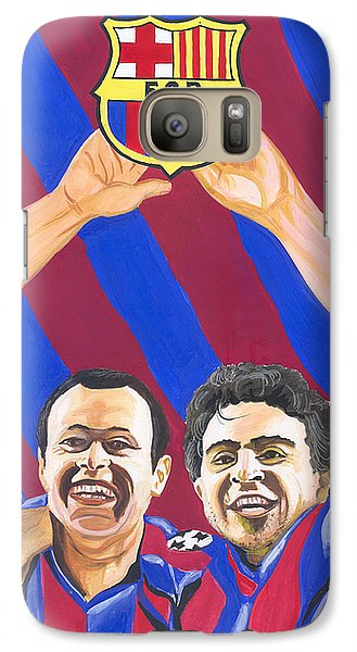 Galaxy Case featuring the painting Xavi And Iniesta by Emmanuel Baliyanga