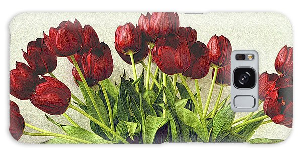 Array Of Red Tulips Galaxy Case by Nadalyn Larsen
