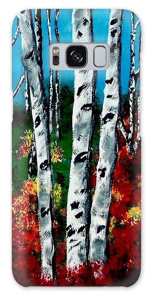 Galaxy Case featuring the painting Birch Woods 2 by Sonya Nancy Capling-Bacle