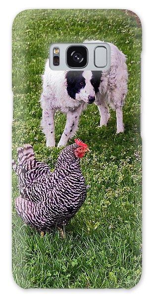 Border Collie Herding Chicken Galaxy Case by Sally Weigand