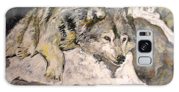 Grey Wolf Resting In The Snow Galaxy Case by Koro Arandia