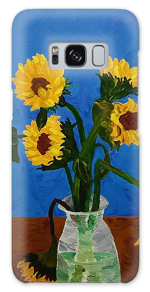 Seven Sunflowers In Vase Galaxy Case