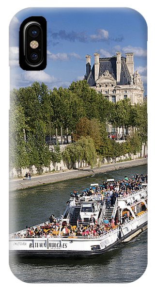 Louvre iPhone Case - Sightseeing Boat On River Seine To Louvre Museum. Paris by Bernard Jaubert