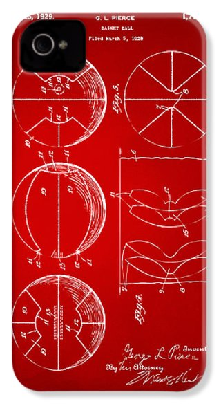 1929 Basketball Patent Artwork - Red IPhone 4 Case by Nikki Marie Smith