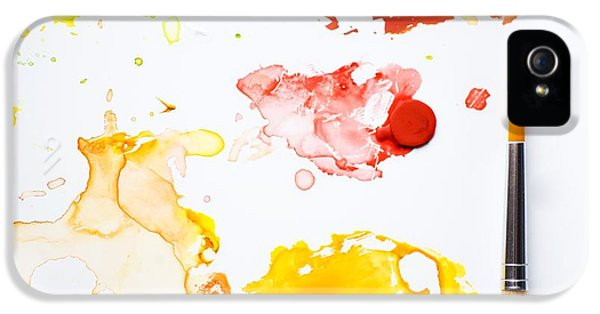Paint Splatters And Paint Brush IPhone 5 Case by Chris Knorr