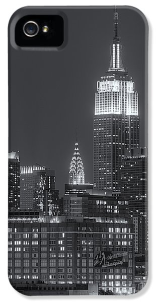 Empire State And Chrysler Buildings At Twilight II IPhone 5 Case by Clarence Holmes