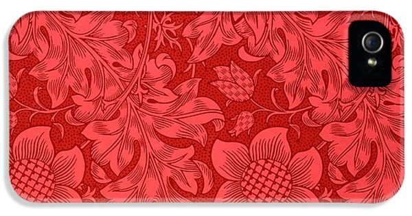 Red Sunflower Wallpaper Design, 1879 IPhone 5s Case by William Morris