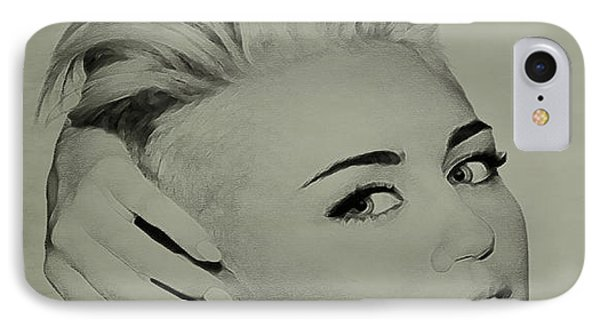 IPhone Case featuring the drawing Miley Cyrus  by Brian Reaves