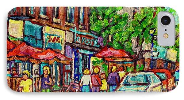 Monkland Tavern Corner Old Orchard Montreal Street Scene Painting Phone Case by Carole Spandau