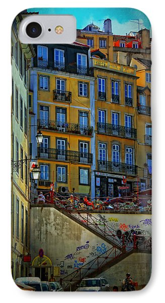 Up The Stairs - Lisbon IPhone Case by Mary Machare