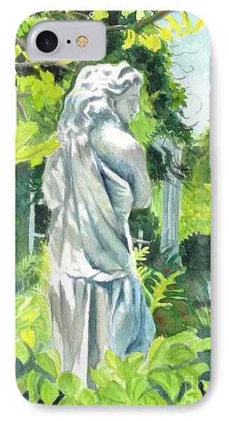 IPhone Case featuring the painting A Statue At The Wellers Carriage House -3 by Yoshiko Mishina