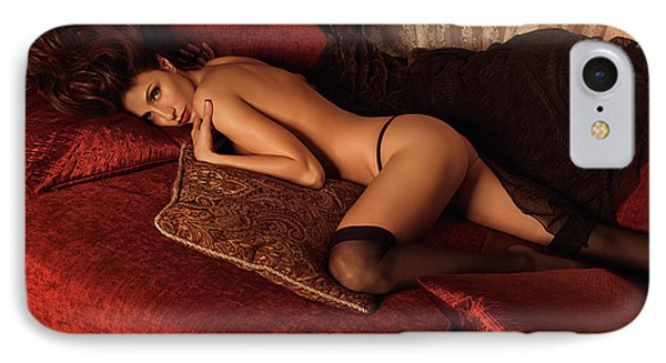 Sexy Young Woman Lying On A Bed IPhone Case