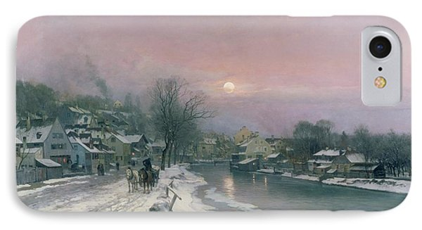 A Canal Scene In Winter  IPhone Case by Anders Anderson Lundby