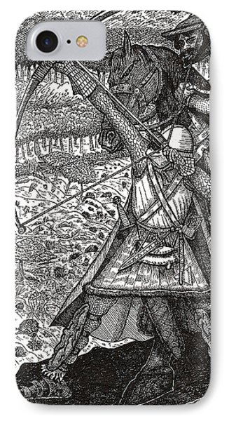 IPhone Case featuring the drawing Abbadon Takes Aim by Al Goldfarb