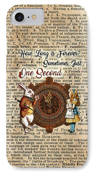 Alice And White Rabbit Vintage Dictionary Art Quote IPhone Case by Jacob Kuch