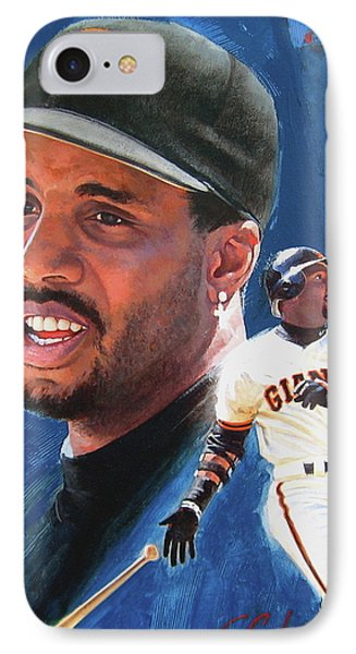 Barry Bonds In The Shadow IPhone Case by Cliff Spohn