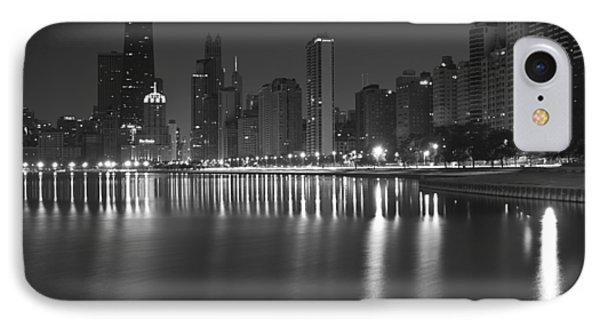 Black And White Chicago Skyline At Night Phone Case by Sven Brogren