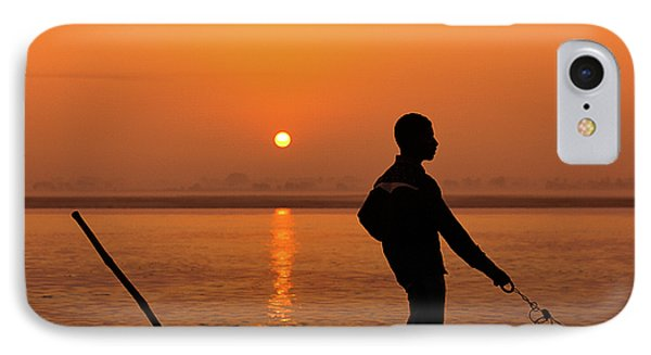 IPhone Case featuring the photograph Boatsman On The Ganges by Stefan Nielsen