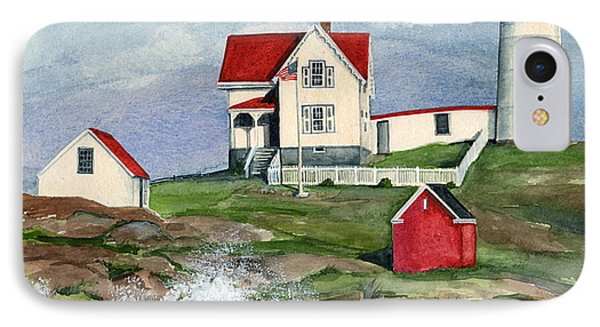 IPhone Case featuring the painting Cape Neddic Lighthouse  by Nancy Patterson