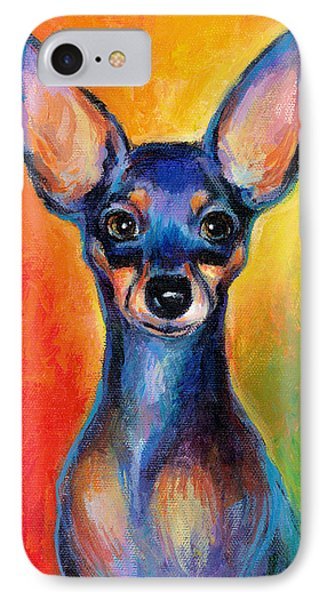 Contemporary Colorful Chihuahua Chiuaua Painting IPhone Case by Svetlana Novikova