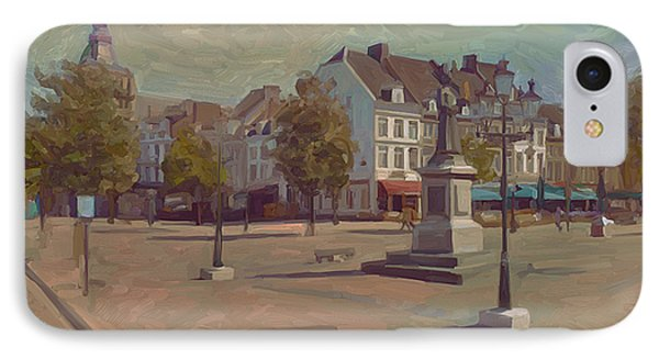 IPhone Case featuring the painting Corner Bosch Street And Market Maastricht by Nop Briex