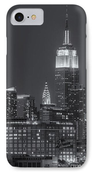 Empire State And Chrysler Buildings At Twilight II IPhone Case