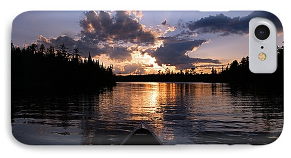 Evening Paddle On Spoon Lake IPhone Case by Larry Ricker