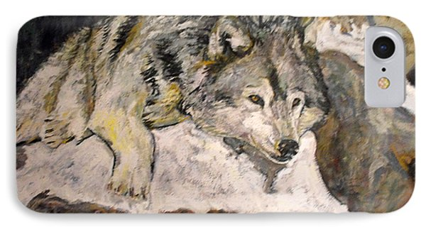 Grey Wolf Resting In The Snow IPhone Case by Koro Arandia