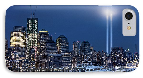 Ground Zero Tribute Lights And The Freedom Tower Phone Case by Chris Lord