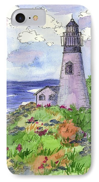 IPhone Case featuring the painting Lighthouse In Summer  by Cathie Richardson