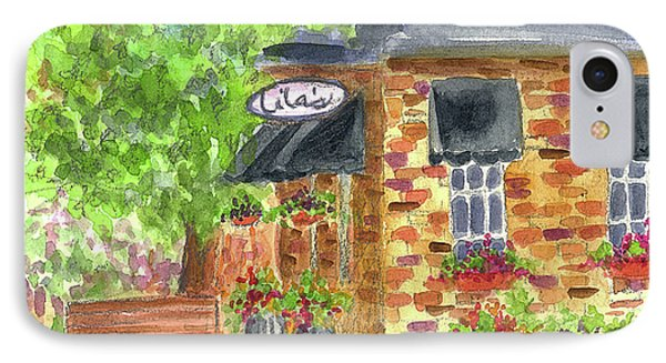 IPhone Case featuring the painting Lila's Cafe by Cathie Richardson
